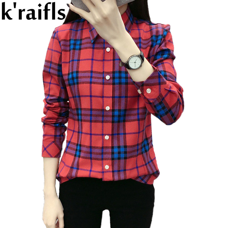 k'raifls 2017 Free Shipping Spring Clothes Plaid Long Sleeve Shirt Large Size Europe And America 24 Styles Plaid Shirt