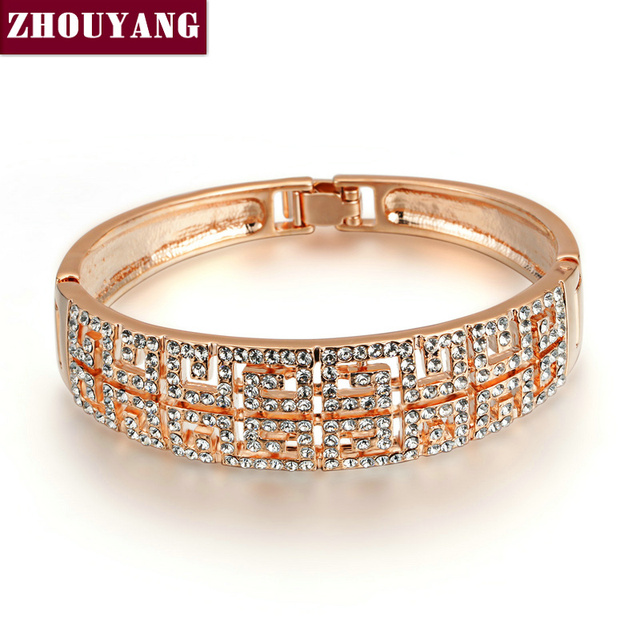 Top Quality Retro Style  Rose/White Gold Plated Two Lines Bangle Jewelry  Austrian Crystals Wholesale ZYB019 ZYB035