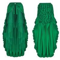 Women's Steampunk Victorian Skirt Lace Up 2 Layer Ruffles Tulle Asymmetrica Skirt Medieval Renaissance Corset Skirts Plus Size