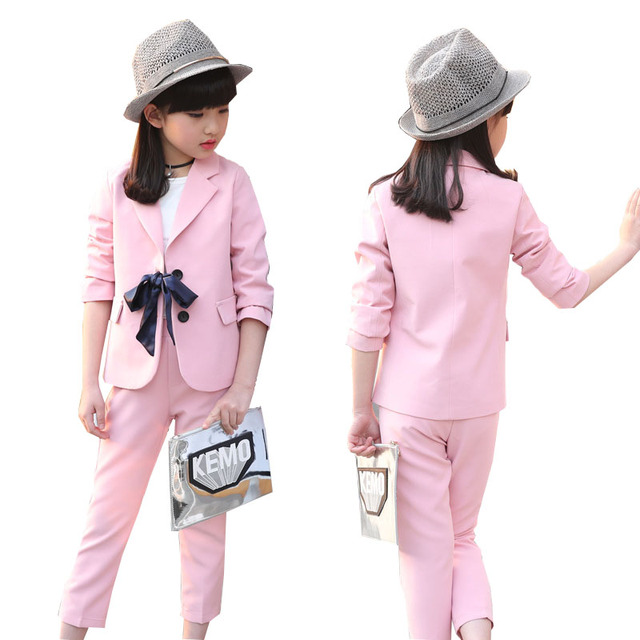 0f789e0238743 Children girls clothing set 2018 spring teenage girls suit bow-knot  jacket+pants school kids clothes tracksuit for girls clothes