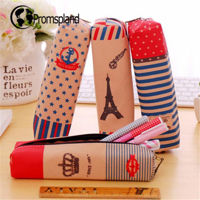 40pcs/lot Tower Moustache Crown Pencil Case Anchor Pencil Bag Canvas Pencilcase Stationery Office School Supplies Gifts 18.5cm