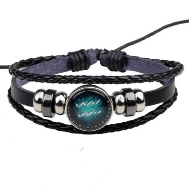 Многоуровневые кожаные веревочные браслеты Aries 12 для мужчин и женщин, подарки, Винтажные Ювелирные изделия pulseira