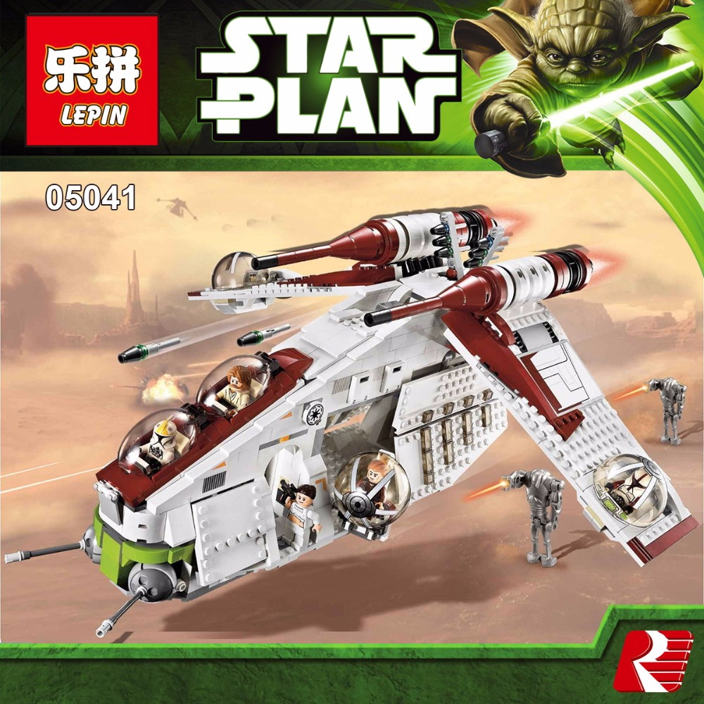 Lepin 05041 Genuine Star War Series The The Republic Gunship Set Educational Building Blocks Bricks Toys Compatible legoed 75021 lepin 22001 pirate ship imperial warships model building block briks toys gift 1717pcs compatible legoed 10210