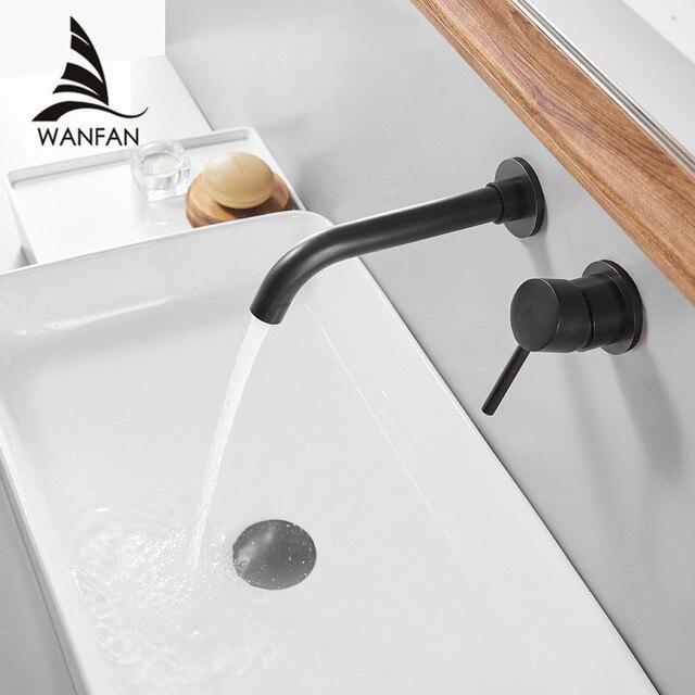 € 47.9 45% de réduction|Robinets de lavabo mural en laiton salle de bains  évier bassin mitigeur robinet Chrome robinet double poignée noir robinets  de ...