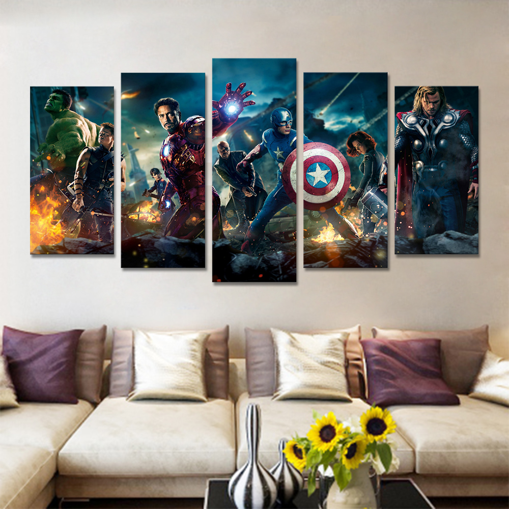 Unframed 5 HD Canvas Prints Avengers Alliance 2 Poster For Living Room Decoration Mural Module Art Spray Painting Dropshipping