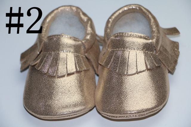 Venta al por menor de primavera de oro de piel de cabra Genuino niños bebés niñas zapatos Primeros Caminante anti-caída franja mocasines para bebés recién nacidos