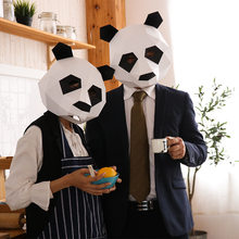 Panda paper DIY material manual creative Head Mask Party Masquerade show props lovely Panda tide hand made lovely mask(China)