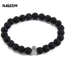 NADEEM 2017 New Arrival Cute Pineapple Charm Bracelet for Women Black Matte,White Howlite Stone Bead Elastic Bracelet Jewelry