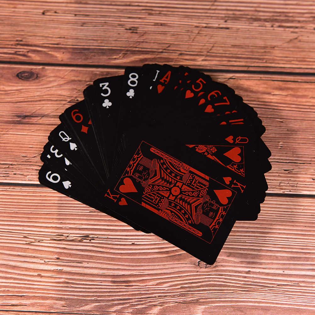Boîte en plastique Poker cartes à jouer noires jeu de famille cartes en plastique imperméables