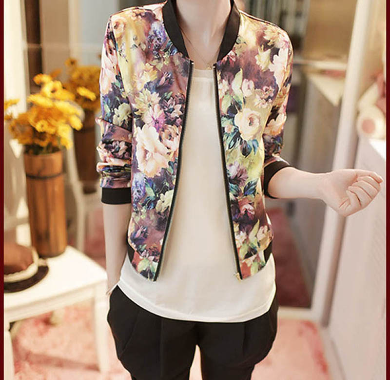 Women Bomber Jacket 2016 Female Stand Collar Long Sleeve Coat Floral Printed Casual Jacket Ladies Patch Jacket Coat