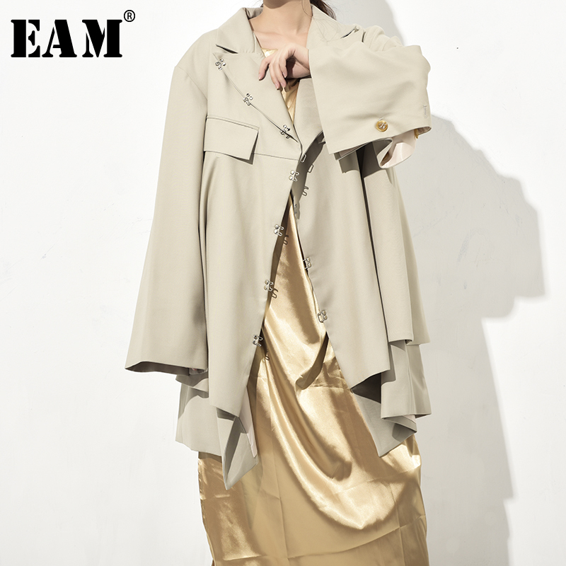 [EAM] 2019 New Autumn Winter Lapel Long Sleeve Button Irregular Hem Loose Big Size Backless Jacket Women Coat Fashion JO34504