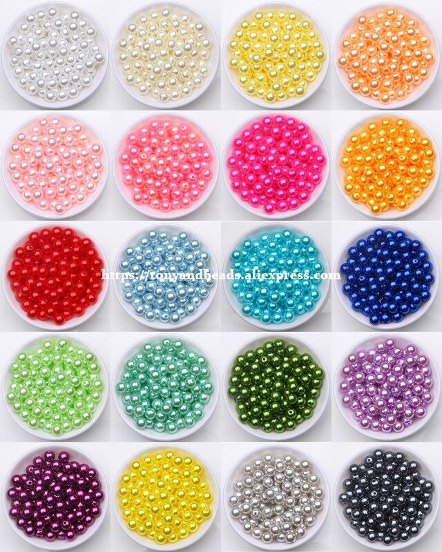 Акриловые бусины с имитацией жемчуга, круглые шарики-разделители, 4, 6, 8, 10, 12 мм, выберите размер для изготовления ювелирных изделий