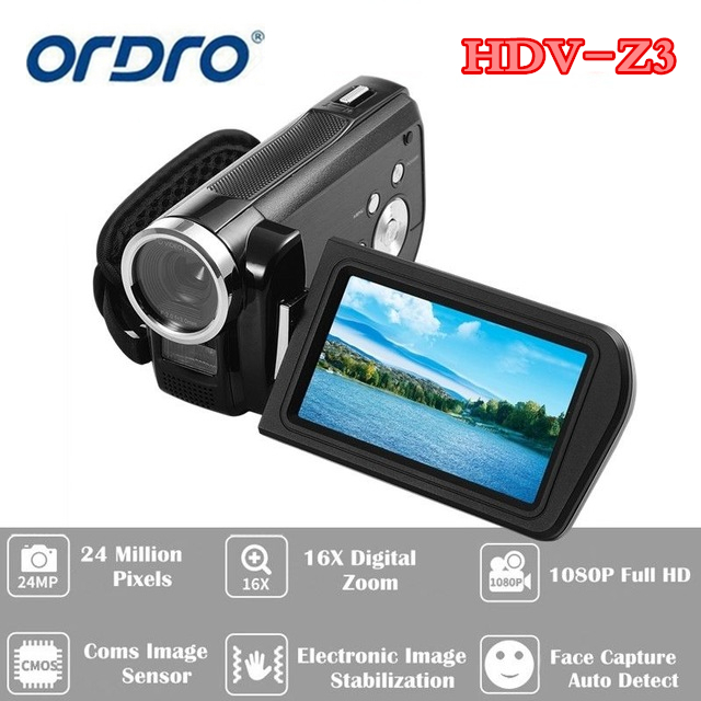 Free shipping!ORDRO HDV-Z3 1080P Full HD Digital Video Camera 24MP 16x Zoom 3.0 фотокамеры и аксессуары ordro hdv v88 16mp 1080p w ordro hdv v88