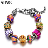 REAMOR Pan Style Gold Plated European Crystal Enamel Bead Charm Bracelet Stainless Steel Snake Chain DIY