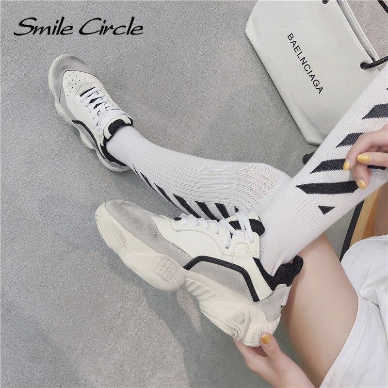 jaune Nouvelles Suede Sneakers Dames Plates Cercle Chaussures forme Fond En Femmes Blanc Cuir 2019 Plate Épais Sourire va1WqgR