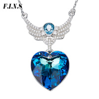 F.I.N.S Unique Crystal Heart Necklace Pendants Women 925 Sterling Silver Fashion Jewelry Austrian Rhinestone Blue Heart Wing