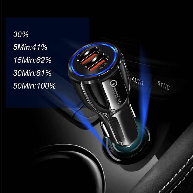 Cargador de coche GEUMXL QC3.0 2 USB carga rápida de 5V 3.1A carga rápida de Qualcomm 3,0 carga estándar para iphone Samsung Huawei Xiaomi