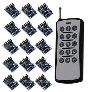 New DC12V 24 V 36 V 48 V 1CH Wireless Switch 15X1 Canais 30A Relés de Tensão Larga Receptores & Transmissor de Longo Alcance Distância 500 m