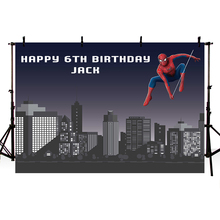 Background Photography Cartoon Spiderman Backdrops Superhero Buildings Baby Shower Custom Photo Backdrop Vinyl
