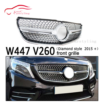 W447 Diamonds grille Front Bumper Grill with Camera for Mercedes V class W447 V260 V250 2015 + 4-door Van Minibus Grills image