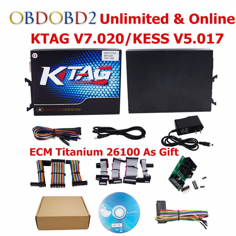 DHL Free Online Master KESS V5.017 V2.23+KTAG V7.020 V2.23 No Tokens Limit KESS 5.017+K-TAG K Tag 7.020 ECU Chip Tuning Tool new version v2 13 ktag k tag firmware v6 070 ecu programming tool with unlimited token scanner for car diagnosis