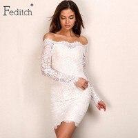 2016 Winter New Vintage Lace Dresses Strapless Slash Neck Embroidery Floral White Dress Long Sleeve Elegent