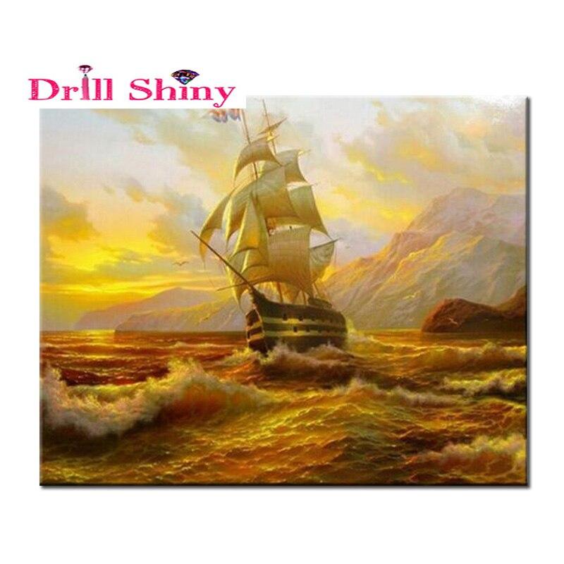 Diamond Embroidery 3D Diamond Painting Cross Stitch Crafts Beauty Sailing Diamond Mosaic Pattern Rhinestones Hobbies And Crafts