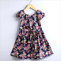 2016 горячие продаем модные платья детские девушки милые платья дети повседневная одежда летом с коротким рукавом печати ребенка