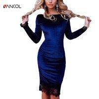 Vancol Long Sleeve Night Club Party Sexy Dresses Brand Designer Elegant Black Slim Robe Women Clothes