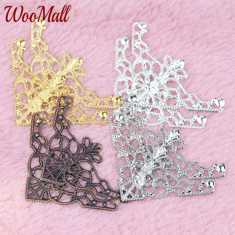 50Pcs Filigree Wraps Pick Color Connectors Metal Crafts Connector For Jewelry Making DIY Accessories Charm Pendant
