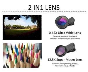 Image 2 - APEXEL เลนส์กล้อง Super 0.45x มุมกว้าง & 12.5x มาโครเลนส์ 2 ใน 1 เลนส์ HD สำหรับ iPhone x 7 8 Samsung s9 s8 xiaomi