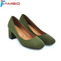 FAMSO Big Size34 43 2018 New Spring Arrival Women Pumps Shoes Flock Round Toe Shallow Platforms