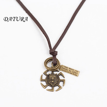 Women's Unisex Circle Word  Leopard Head  Charm Pendant Brown Genuine Leather Necklace Cord.