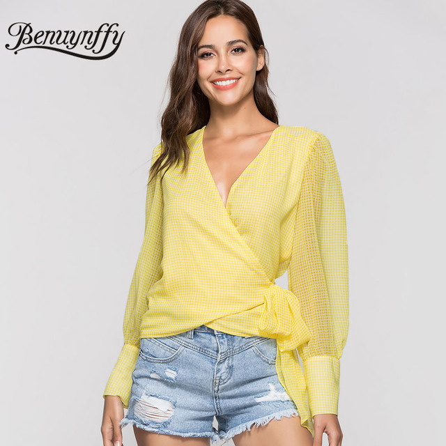 3644975dd5 Benuynffy Yellow Tie Plaid Blouse Shirt Fashion 2018 Sexy V-Neck Wrap Top  Women See