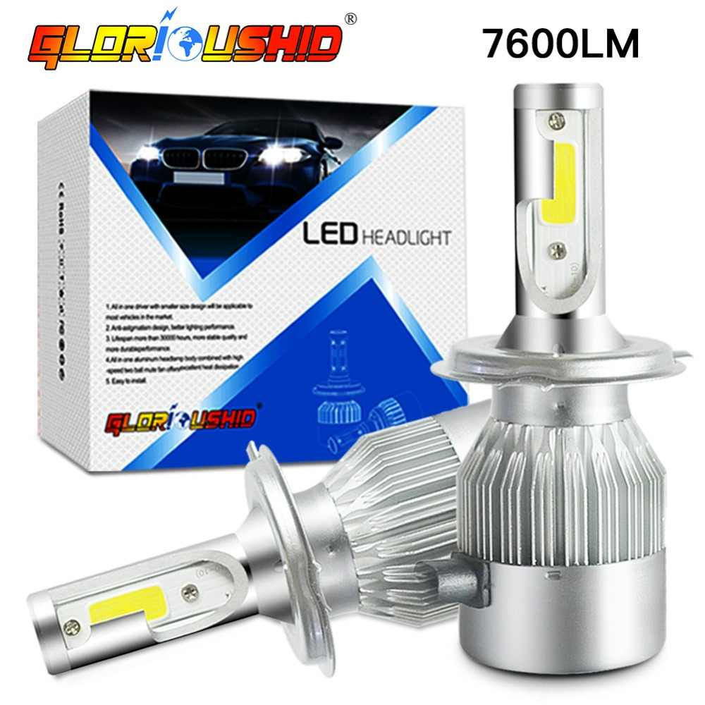 One Pair H4 LED Bulb H1 H7 H11 H3 H9 HB4 HB3 9005 9006 Auto Car Headlight Bulbs 72W 7600LM Led Fog Light Lamp 6000k