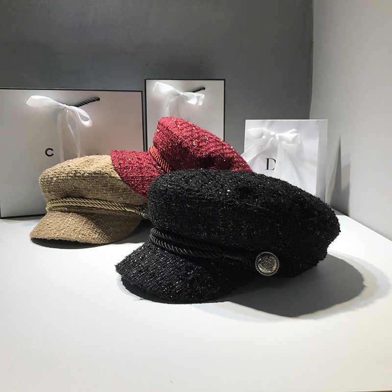 2019 أزياء الشتاء و الخريف السيدات القبعات النساء القبعات كودري قبعات أوروبا وأمريكا الرجعية شقة أعلى عارضة البرية مثمنة كاب