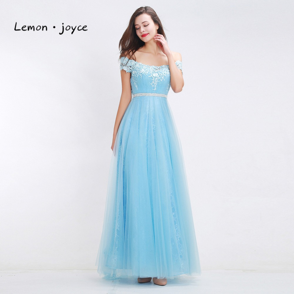 Fantasy sky blue bridesmaid dresses 2018 boat neck off shoulder fantasy sky blue bridesmaid dresses 2018 boat neck off shoulder appliques tulle simple a line dresses prom gowns plus size in bridesmaid dresses from ombrellifo Images