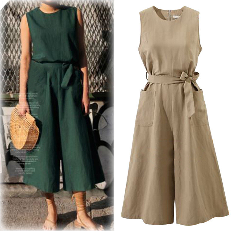 Women Elegant Wide Leg Long Jumpsuit With Belt 2018 Summer Plus Size Jumpsuits Casual Solid Rompers With Pockets 1