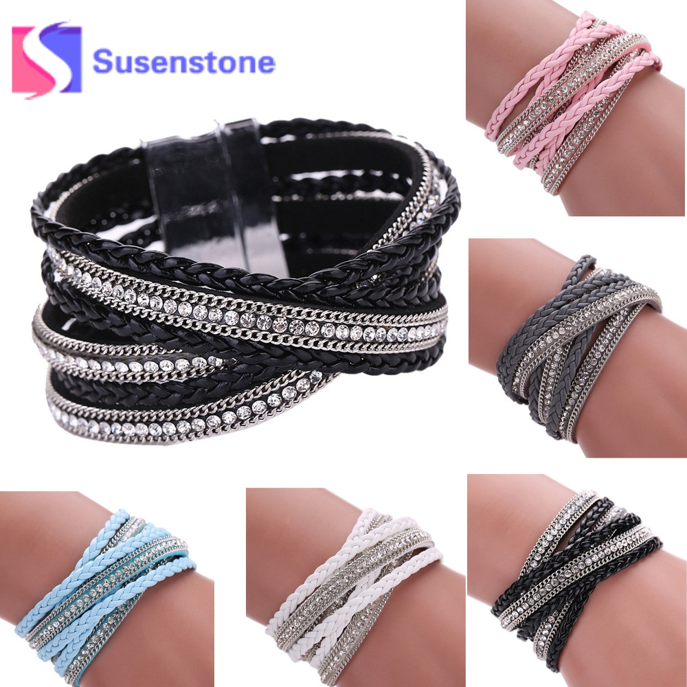 Women Men Bohemian Multilayer Leather Woven Braided Bracelet Fashion Rhinestone Knit Leather Handmade Wrap Cuff Magnetic Clasp Chain & Link Bracelets