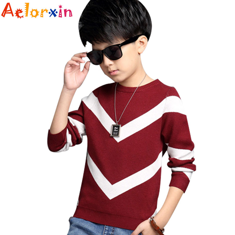 Big Kids Sweaters for Boys Knitwear Child Print Geometric Pattern Tops Infant Knitted Clothes 8 9 12 14 15 Years Teenage Sweater megalight 8129 black page 3