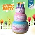 Inflable de tres capas de la torta de cumpleaños con velas para niños de artículos para fiestas favor decoración del regalo del niño del juguete inflable blow up toys