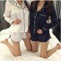 Gola de Renda elegante breve V pescoço Tops de manga Longa shorts Mulheres Sono Definir pijama pijama