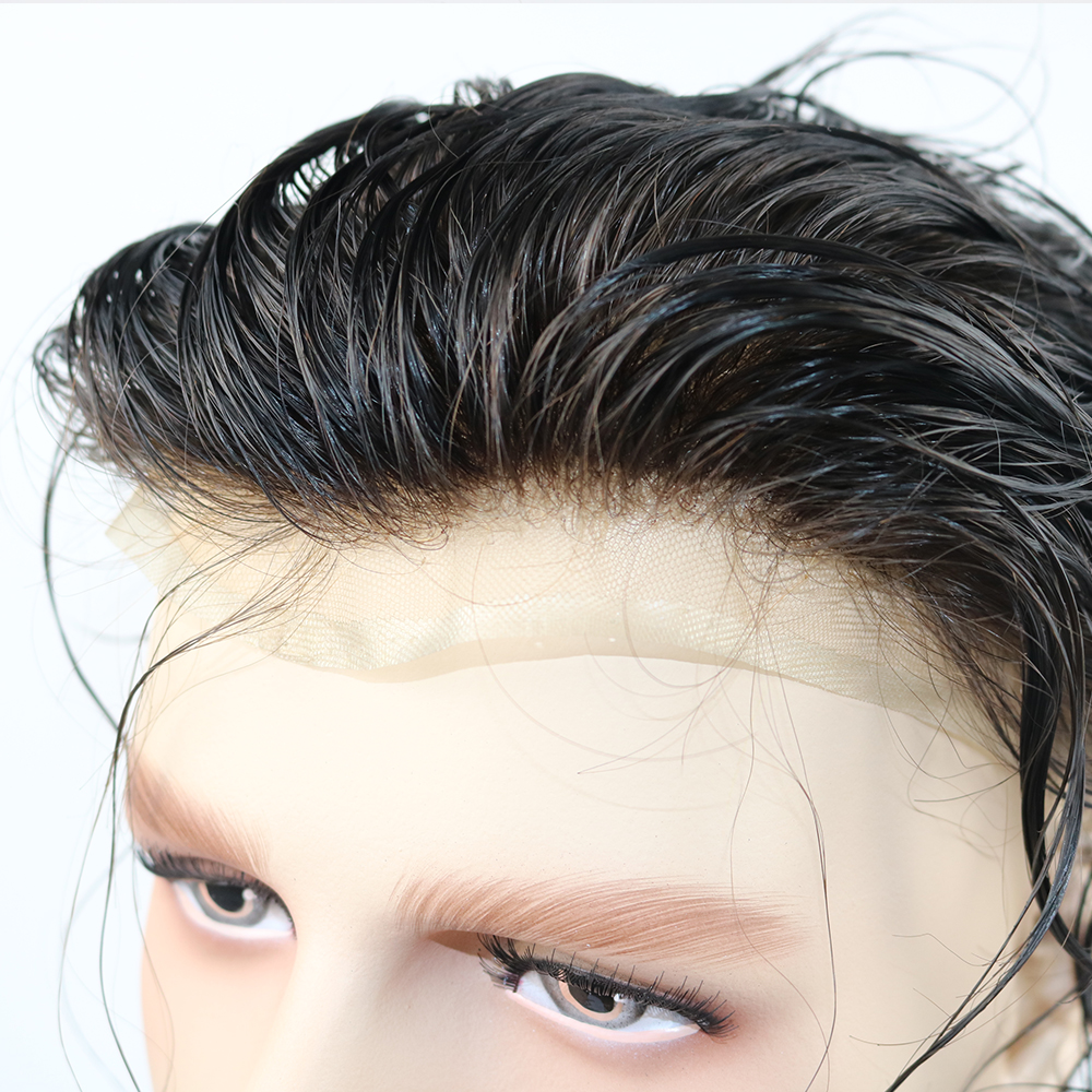 SimBeauty Full Lace Toupee Bleached Knots Mens Wig Hairpiece Toupee For Men Human Hair Black Color Short Indian Remy Hair