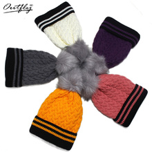 outfly Fashion New Pom Poms Winter Hat for Women Solid Warm Hats Knitted Beanies Cap Brand Thick Female Cap Wholesale