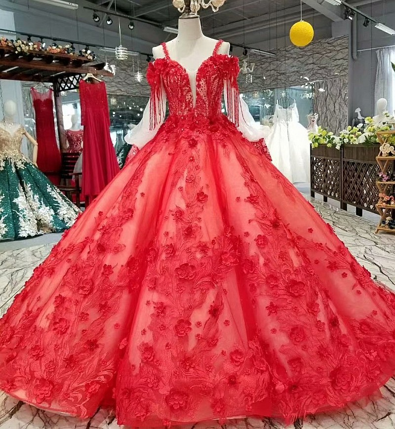 Red Tulle Wedding Dresses 2018 New Flowers Sequined Sexy Vintage Bridal Gowns Vestido De Noiva Wedding Dress Bridal Gown