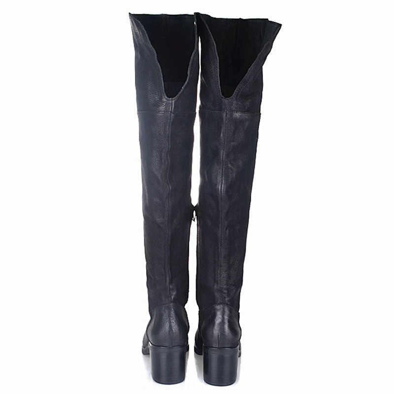 Prova Perfetto สีดำของแท้หนังผู้หญิงต้นขาสูงรองเท้าบูทบูทเหนือเข่ารองเท้าส้นสูงยาวสุภาพสตรีขี่ boot