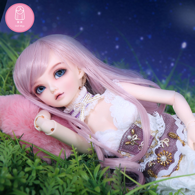 Free Shipping BJD Wig 1/4 Long Curly Bang High Temperature Hair Pink Fairies For Minifee Luts Girl Doll luodoll