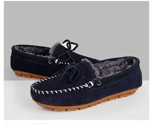 Image 5 - Weideng camurça mocassins de pele quente couro genuíno mulher sapatos de pelúcia barco apartamentos feminino casual deslizamento em botas de neve inverno chinelo