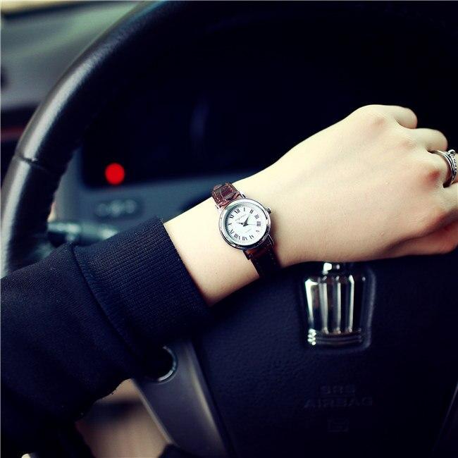 Watch-Wristwatches Quartz-Dress Thin-Strap Small Vintage Girls Genuine-Leather Women