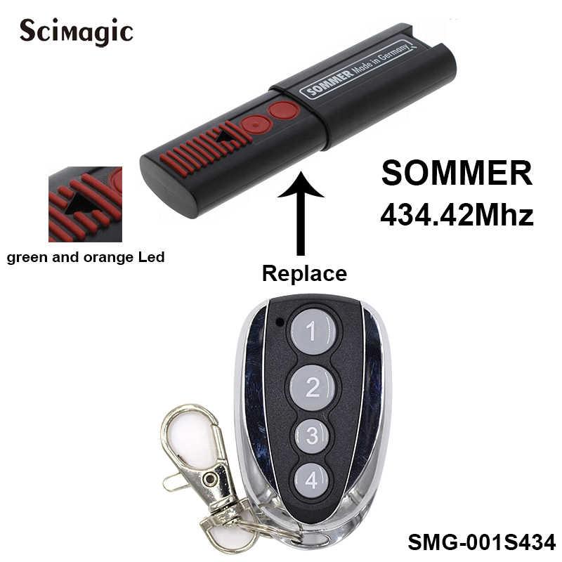 ソマー用 434.42 433mhz のリモートコントロールガレージドアオープナー 4 チャンネルソマーコントローラーグリーンと orange led トランスミッタローリングコード